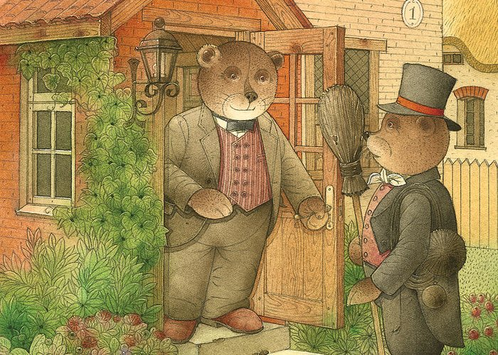 Bears Flowers Garden Greeting Card featuring the painting Florentius The Gardener25 by Kestutis Kasparavicius