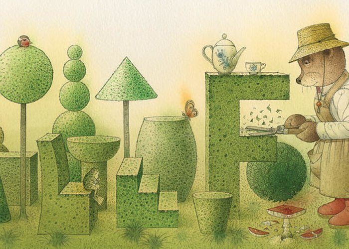 Garden Bears Flowers Green Landscape Nature Greeting Card featuring the painting Florentius The Gardner24 by Kestutis Kasparavicius