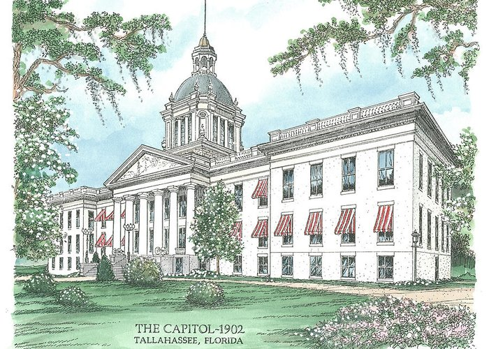 Florida Greeting Card featuring the drawing Florida Capitol 1902 by Audrey Peaty