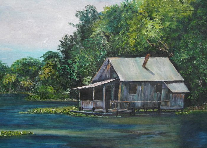 Florida Greeting Card featuring the painting Florida Fishing Shack by Lessandra Grimley