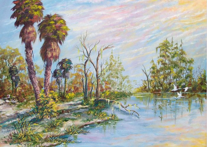 Landscape Greeting Card featuring the painting Florida Forgotten by Dennis Vebert