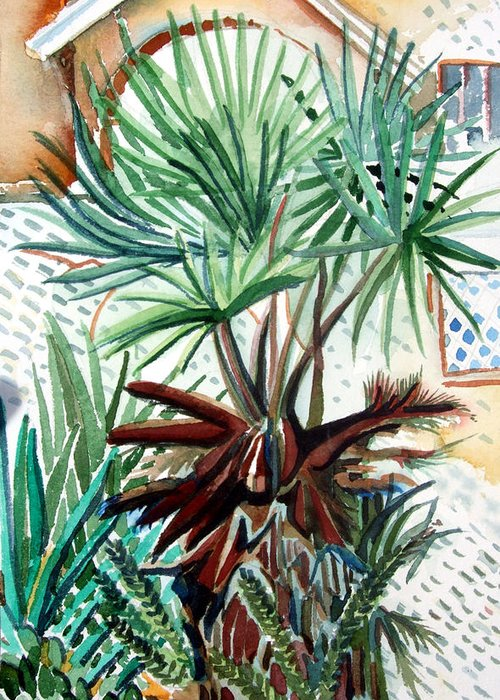 Palm Greeting Card featuring the painting Florida Palm by Mindy Newman