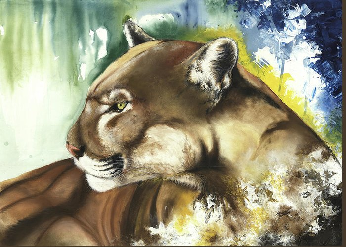 Florida Panther Greeting Card featuring the mixed media Florida Panther by Anthony Burks Sr
