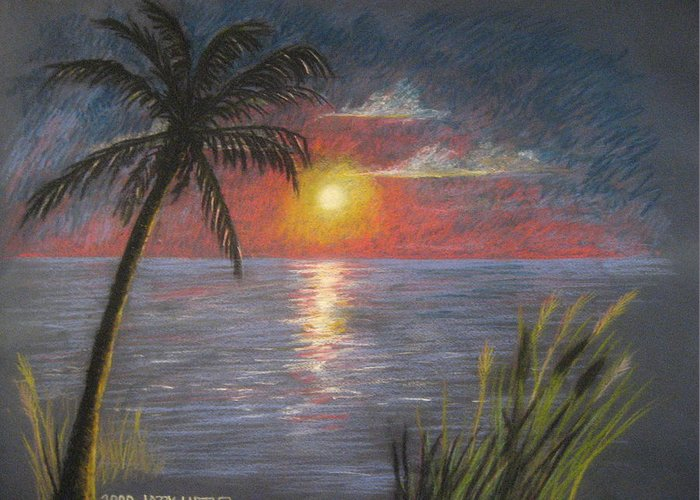 Sunset Greeting Card featuring the pastel Florida Sunset by Larry Whitler