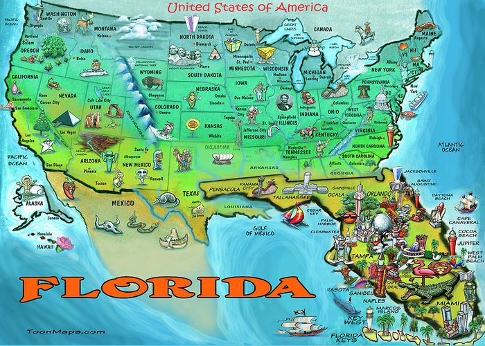 Florida Usa Cartoon Map Greeting Card For Sale By Kevin Middleton - Florida usa map