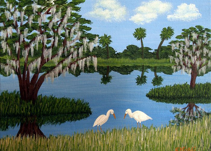 Landscape Paintings Greeting Card featuring the painting Florida Wetlands by Frederic Kohli