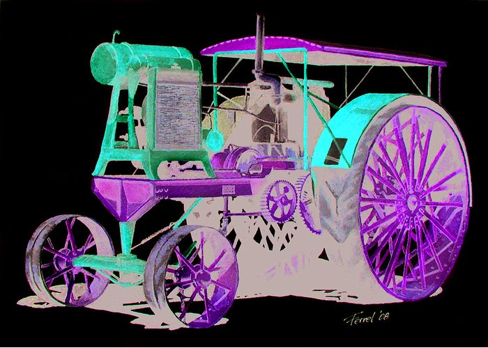 Tractor Greeting Card featuring the painting Flour City Gas Tractor by Ferrel Cordle