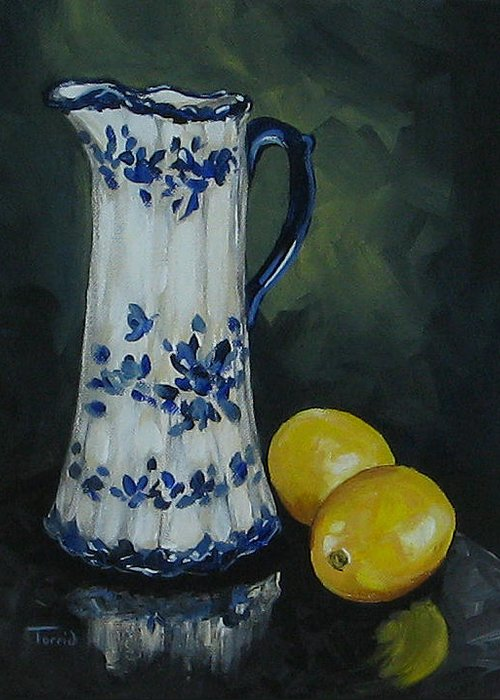 Flow Blue China Greeting Card featuring the painting Flow Blue And Lemons by Torrie Smiley