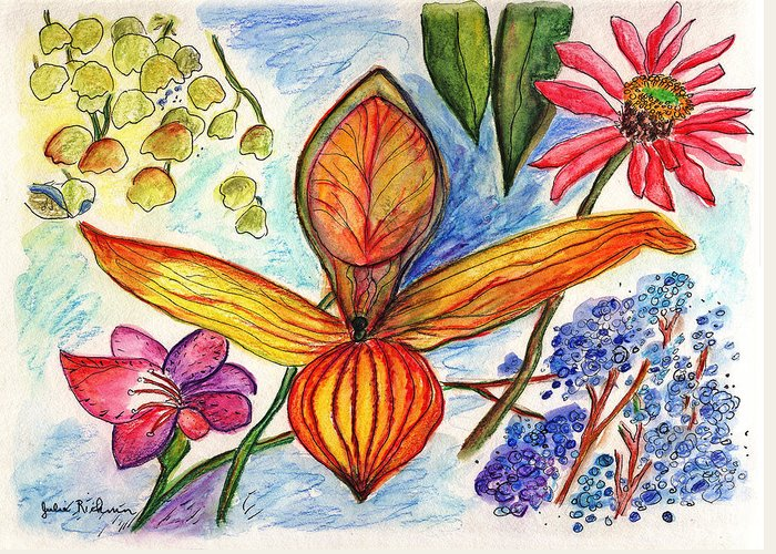 Nature Greeting Card featuring the painting Flower 73 by Julie Richman