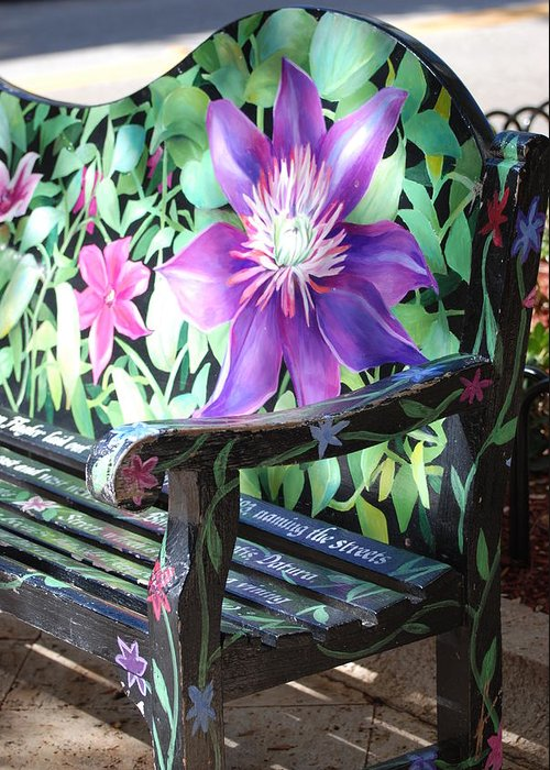 Macro Greeting Card featuring the photograph Flower Bench by Rob Hans