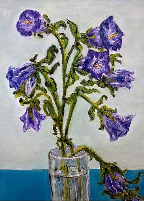 Flower Greeting Card featuring the painting Flower Bluebells Original Oil Painting by Natalja Picugina