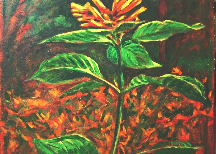 Flower Greeting Card featuring the painting Flower Branch by Usha Shantharam