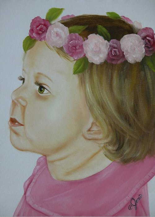 Oil Painting Greeting Card featuring the painting Flower Child by Joni McPherson