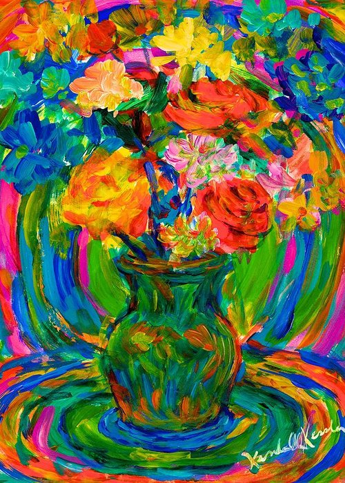Floral Greeting Card featuring the painting Flower Energy by Kendall Kessler
