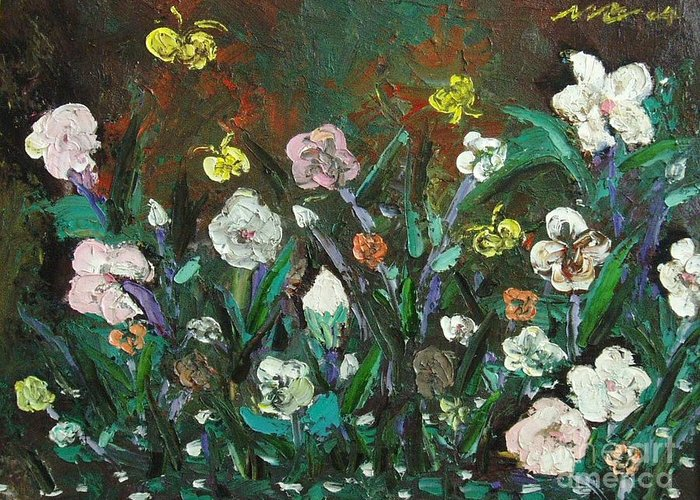 Abstract Paintings Greeting Card featuring the painting Flower Garden by Seon-Jeong Kim
