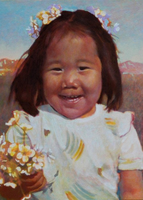 Eskimo Greeting Card featuring the painting Flower Girl by Robert Bissett
