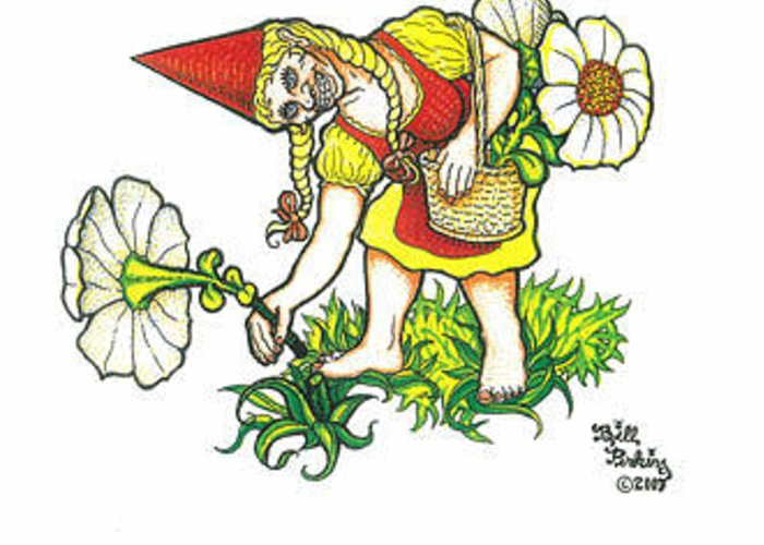 Greeting Card featuring the drawing Flower Gnome by Bill Perkins