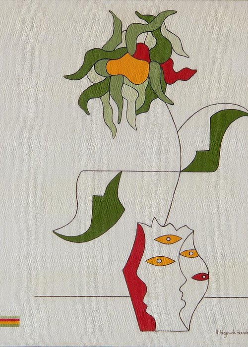 Flower Modern Constructivisme Special Original Greeting Card featuring the painting Flower by Hildegarde Handsaeme