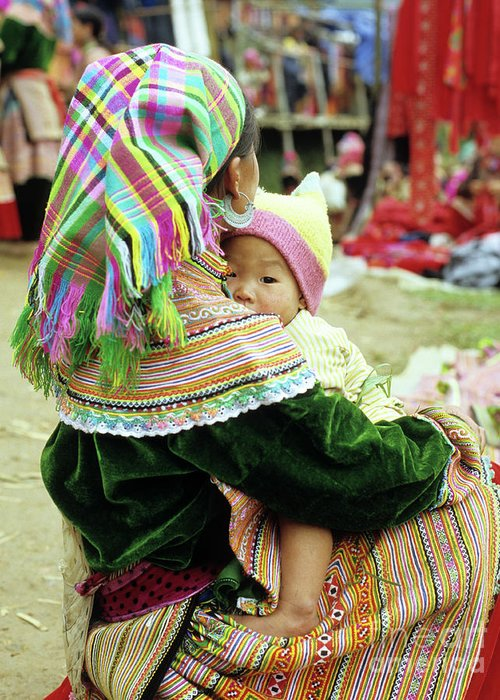 Flower Hmong Greeting Card featuring the photograph Flower Hmong Mother And Baby 02 by Rick Piper Photography