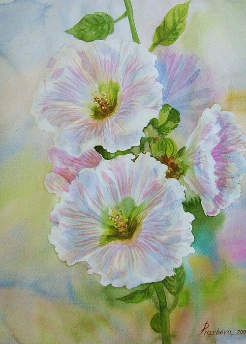 Flower Greeting Card featuring the painting Flower In Summer. by Natalia Piacheva