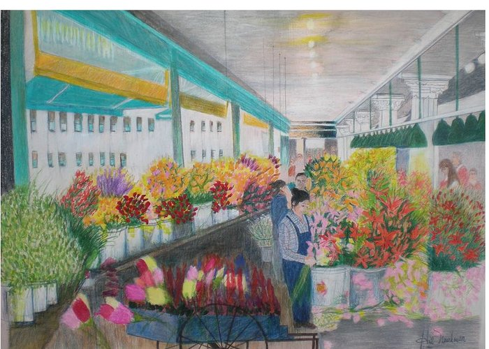Open Air Street Flower Market Greeting Card featuring the painting Flower Market by Hal Newhouser
