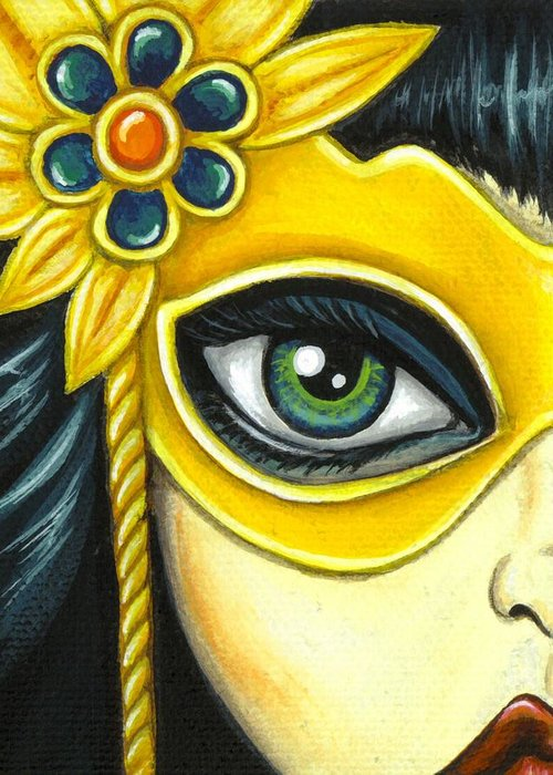 Mask Greeting Card featuring the painting Flower Masquerade by Elaina Wagner