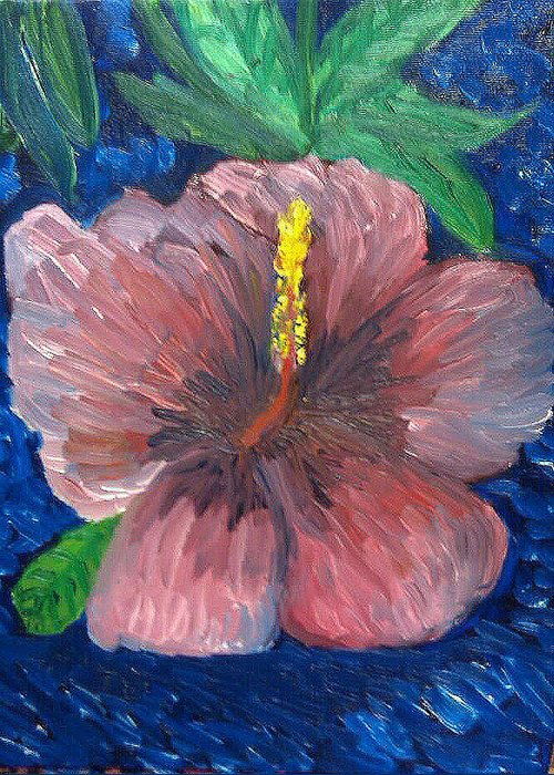 Still Life Of Flower Greeting Card featuring the painting Flower of Morristown by Caroline Lifshey