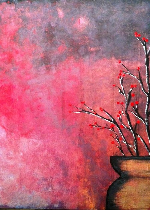 Flower Pot Greeting Card featuring the painting Flower Pot by Matt Thomas