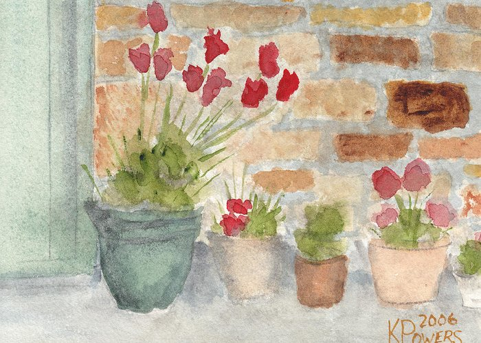 Flower Greeting Card featuring the painting Flower Pots by Ken Powers
