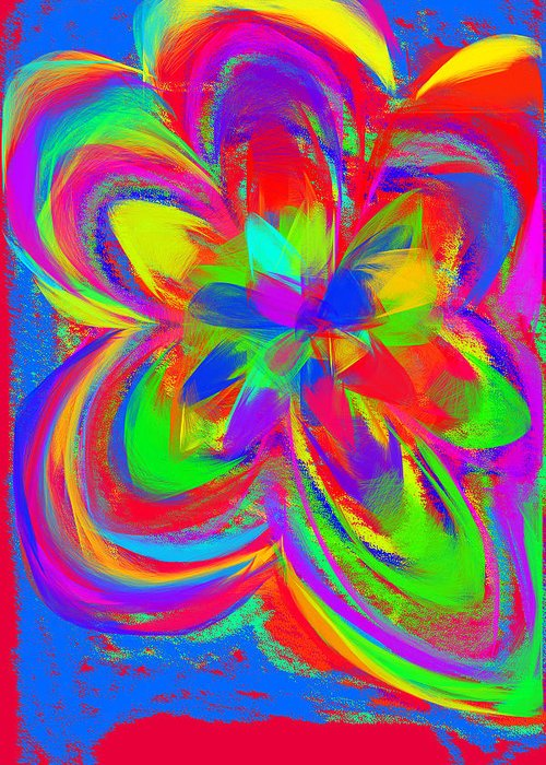 Flower Greeting Card featuring the painting Flower Power by Artsy Gypsy
