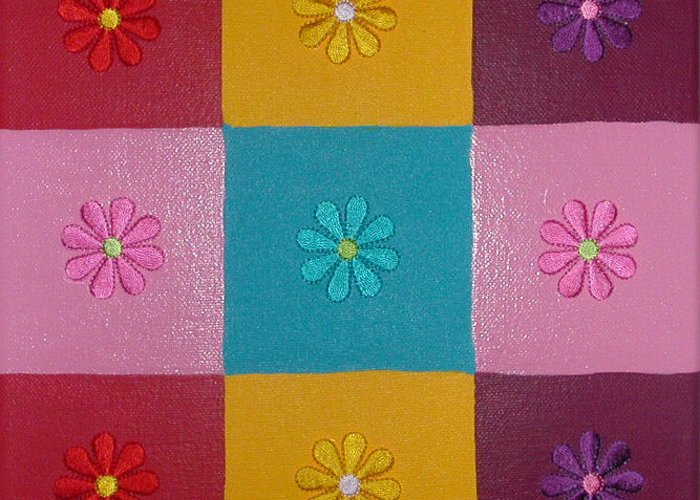 Fabric Flowers On Multi Colored Squares Greeting Card featuring the painting Flower Power by Gay Dallek