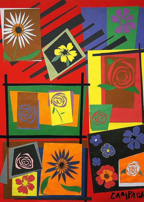 Cut Paper Greeting Card featuring the tapestry - textile Flower Study 2 by Teddy Campagna