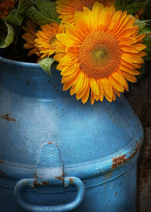 Sunflowers Greeting Card featuring the photograph Flower - Sunflower - Little Blue Sunshine by Mike Savad