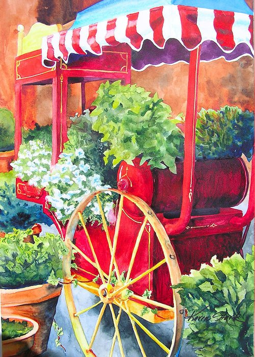 Floral Greeting Card featuring the painting Flower Wagon by Karen Stark