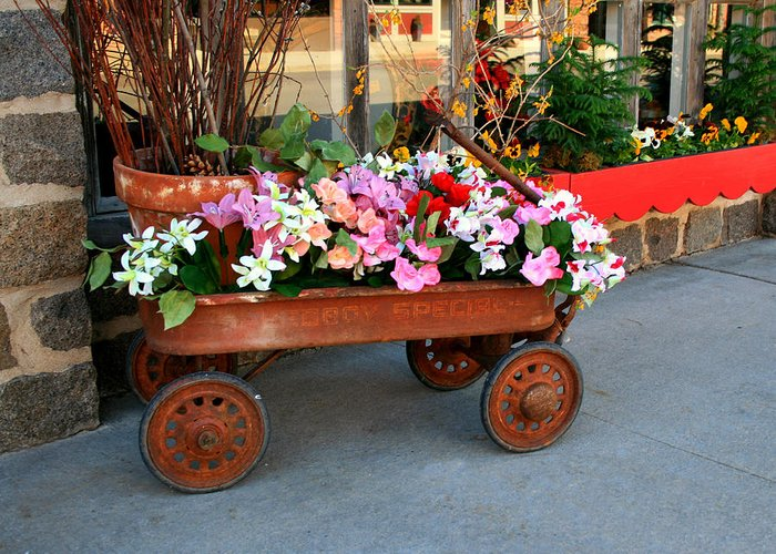 Wagon Greeting Card featuring the photograph Flower Wagon by Perry Webster
