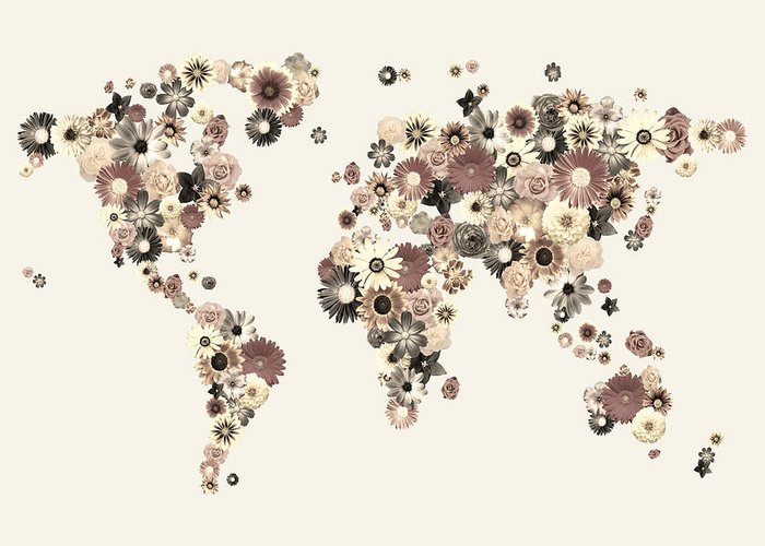 World Map Greeting Card featuring the digital art Flower World Map Sepia by Michael Tompsett