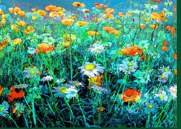Papaver Greeting Card featuring the painting Flowerfield by Anne Weirich