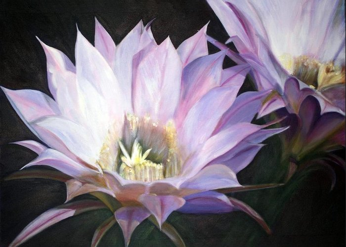 Flower Greeting Card featuring the painting Flowering Cactus by Fiona Jack