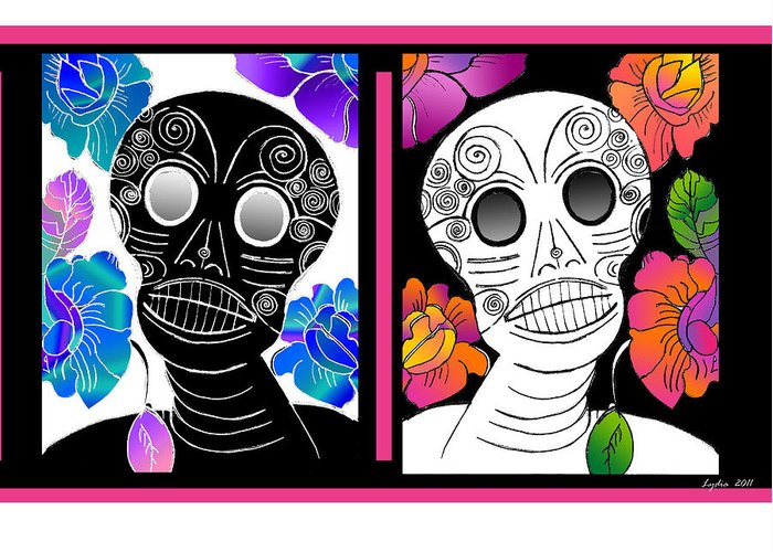 Dia De Los Muertos Greeting Card featuring the drawing Flowering Death 2 by Lydia L Kramer