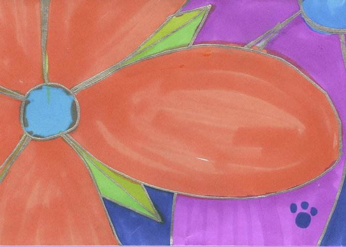 Drawing Greeting Card featuring the drawing Flowers-8 by Luke Anichini