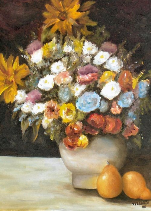 Flowers Greeting Card featuring the painting Flowers after Renoir by Merle Blair