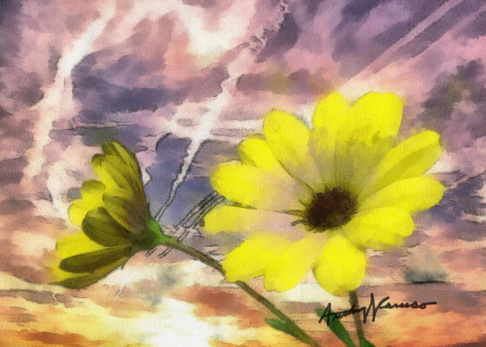 Yellow Greeting Card featuring the painting Flowers Against A Busy Sky by Anthony Caruso