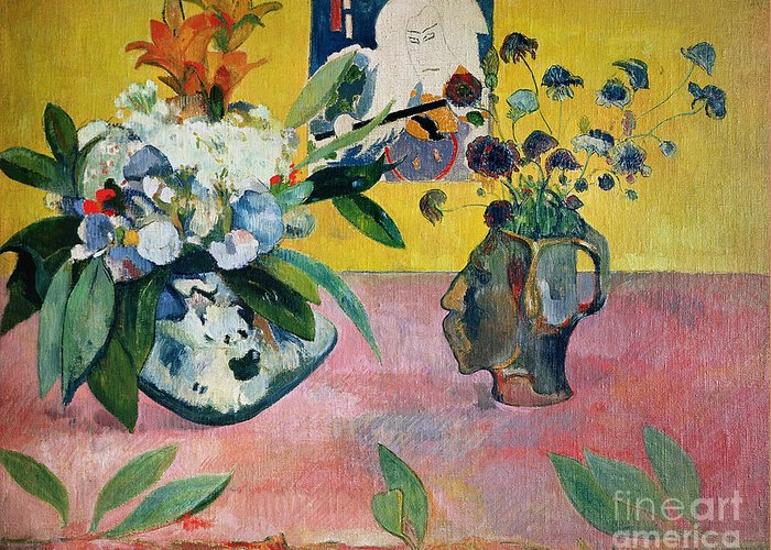 Gauguin Greeting Card featuring the painting Flowers And A Japanese Print by Paul Gauguin