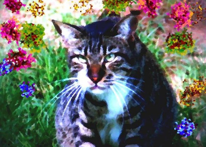Cat Grey Attention Grass Flowers Nature Animals View Greeting Card featuring the digital art Flowers And Cat by Dr Loifer Vladimir