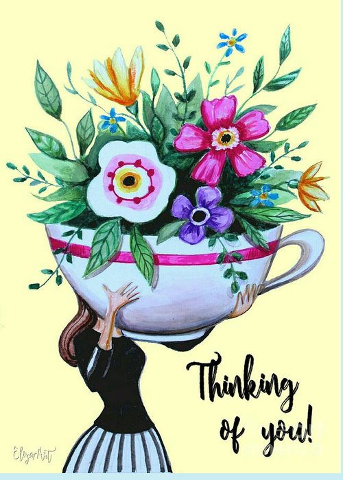 Coffee Greeting Card featuring the painting Flowers And Coffee by Elizabeth Robinette Tyndall