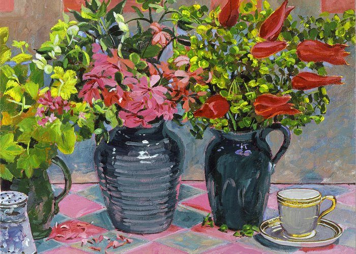 Still Life Greeting Card featuring the painting Flowers And Pitchers by David Lloyd Glover