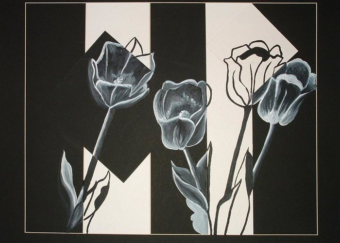 Tulips Greeting Card featuring the painting Flowers by Andrea Darlington