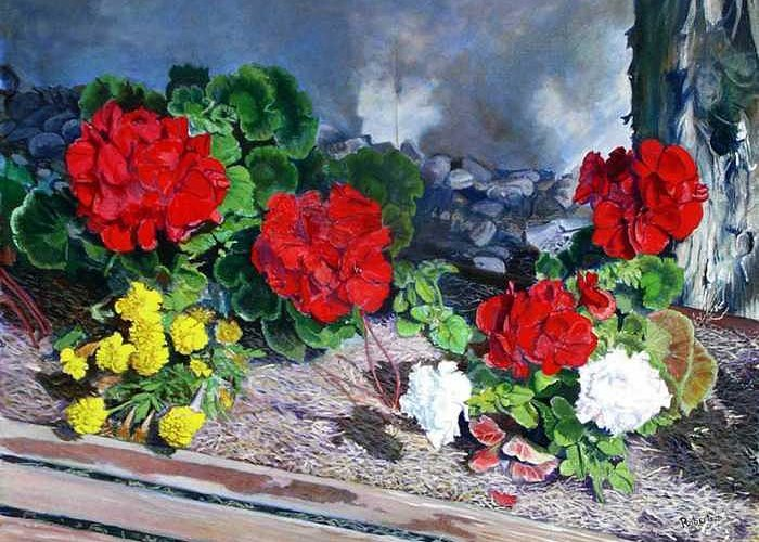 Colorful Flowers Outside Of The Church Greeting Card featuring the painting Flowers At Church by Scott Robertson