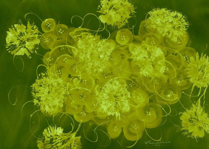 Abstract Greeting Card featuring the digital art Flowers, Buttons And Ribbons -shades Of Chartreuse by Carlene Harris