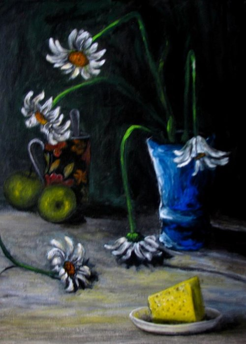 Flower Greeting Card featuring the painting Flowers Camomiles Still Life Acrylic Painting by Natalja Picugina